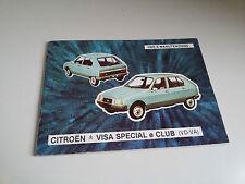 CITROEN VISA Special CLUB VD-VA Manuale USO MANUTENZIONE Anno 1979 OWNERS MANUAL
