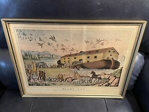 "Framed Currier & Ives Art Print - Noah's Ark 16""x11. Bible"