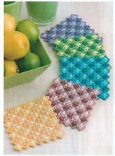 GINGHAM SCALLOPS COASTERS PLASTIC CANVAS PATTERN INSTRUCTIONS