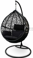 Outdoor Swing Hanging Egg/ Pod Chair - Black Wicker w Black Cushions