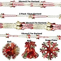 Red & Gold Xmas Hanging Ceiling,Wall Decoration Foil Garland,Bell,Ball,SnowFlake