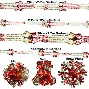 Red & Gold Xmas Hanging Ceiling Wall Decoration Foil Garland Bell Ball SnowFlake
