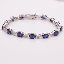 Genuine Sapphire & CZ 925 Solid Sterling Silver Gemstone Bracelet  7.25 Inches