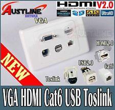 VGA HDMI 2.0 /1.4  RJ45 Cat6 USB Toslink Optical F/F Wall Plate *40%off*