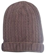 Brown Cable Knit Baggie Beanie Hat New One Size