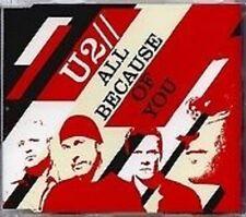 U2 All Because of you 3TRX w/ LIVE & ACOUSTIC Europe CD Single  SEALED USA seler