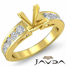 Channel Set Diamond Engagement Ring 18k Yellow Gold Princess Semi Mount 0.75Ct
