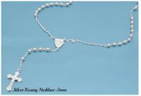 "Sterling Silver 925 ROSARY NECKLACE MADE IN ITALY 3MM-LENGTH-18"",20"",24"",26""30"""