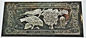Blue Euphonia & Passion Flower - 1981 Antigua & Barbuda $30 Gold Banknote - 23k