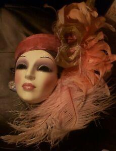 Clay Art Vintage Ceramic San Francisco Lady  Porcelain Mask Art Deco Style