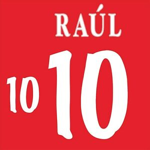 Raul 10. Spain Home football shirt 1998 - 1999 FLOCK NAMESET NAME SET PRINT