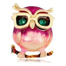 Enamel Owl Glasses Brooch Pin Animal Crystal Wedding Party Brooch Pin Gift TK