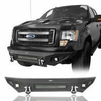 Off-Road Front Bumper w/Skid Plate,LED Light Fit 2009-2014 Ford F150 Black Steel