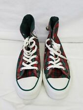 1980's Vintage Plaid Christmas Converse, Chuck Taylor High Top Tennis Shoes, USA