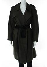 LANVIN ETE 2006 Sepia Bow Notch Collar Long Sleeve Oversize Silk Coat Sz 42
