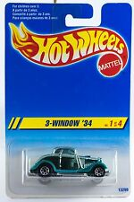 Hot Wheels 3-Window '34 Aqua w/7SP's International Card 1995 New