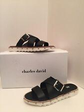 Charles David Speedy Black Leather Slide Sandals Size 7M *NEW