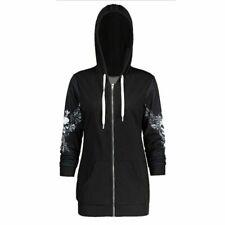 Skull Hooded Gothic Hoodie Black Jacket Sweatshirt Women Coat Hoodies Q11