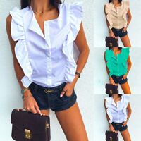❤️Womens V Neck Ruffle Sleeveless T Shirt OL Ladies Casual Blouse Tops White Tee