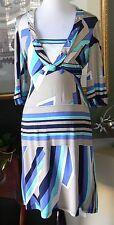Ferrone Italy Soft Rayon Jersey Knit Beaded Empire Dress S