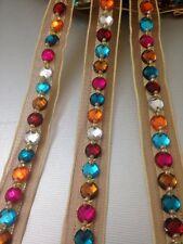 18mm Multi Colour Rhinestone Bead ribbon lace trim multi crafting purpose 1Yards