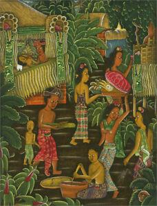 Mid 20th Century Gouache - Balinese Bustling