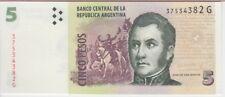 ARGENTINA BANKNOTE P353, 5 PESOS (2012) SERIES G, UNC