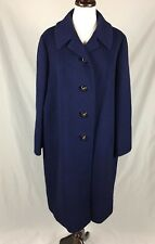 Vtg 60s 100% Cashmere Cobalt Blue Cocoon Coat Sz M Rockabilly Dressy Union Label