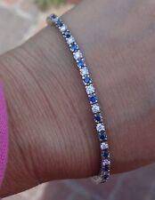 "2.85ct Blue sapphire diamond  G/VS tennis bracelet 14k WG 7.4"""