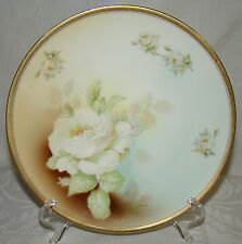 "Vintage White Roses BAVARIA  8 5/16"" Cabinet Plate Dish"