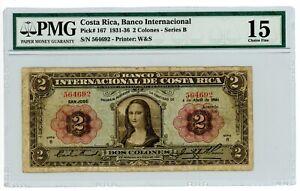 Costa Rica ... P-167... 2 Colones ... 5.8.1936 ... *CH-F* ... PMG 15