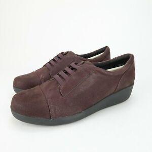 Easy Spirit e360 Kandance Wine Purple Slip On Captoe Wedge Shoes Size 6.5 Wide