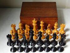 Vintage Tubé Staunton COURONNE marquée Ebony Chess Set King hauteur 9 cm