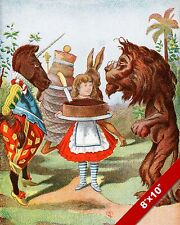 ALICE IN WONDERLAND WITH A CAKE TENNIEL LEWIS CARROL CANVAS PAINTING ART PRINT