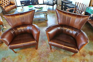 """Set of two 40"""" W Arm chair soft Italian red brown leather solid exotic hard wood"""