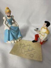 Vtg Disney Cinderella & Prince Charming Ceramic Figurine Set w/ Autograph