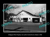 OLD LARGE HISTORIC PHOTO OF BRIDGEPORT WEST VIRGINIA, THE SERVICE STATION c1960