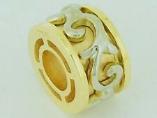 Bd100A - Authentic Genuine 9ct Two-Tone Gold Filigree Scroll Heavy Bead