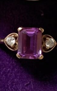 Hallmarked 9ct rose gold diamond and amethyst Ring Size M Read Description
