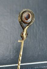 Fine Georgian 14 Ct or, émail & Bulls Eye Agate Serpent Stick PIN avec Ruby Eyes