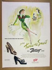 1945 Vitality Shoes woman shoe-fitting green dress fashion art vintage print Ad