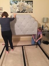 Hayworth queen upholstered headboard from Pier One and queen frame
