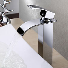 Waterfall Vessel Bathroom Sink Basin Faucet Chrome Finish /Tall Size Mixer Tap