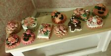 Dollhouse Miniature Bakery HALLOWEEN pumpkin  CAKES lot 11 handbaked 1/12th C