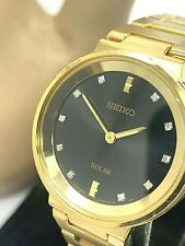 Seiko Solar Women's Diamond Black Dial Gold Tone Stainless Steel Watch SUP396