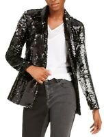 INC Womens Blazer Black Large L Sequined Single-Button Shawl-Collar $149 173