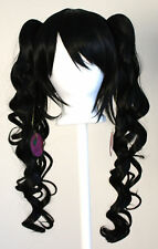 23'' Curly Pig Tails + Base Natural Black Cosplay Wig NEW