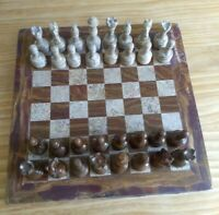 Beautiful red onyx and fossil marble stone chess set.