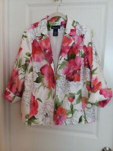 SUSAN GRAVER Pink & Green Floral Blazer Jacket Size 1X