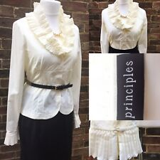 Principles Ivory Tailored Victorian Style Frilly V Smart Office Shirt Top 12 40
